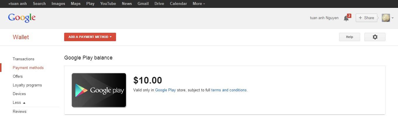Bằng chứng nhận tiền bằng Google Play Gift Card