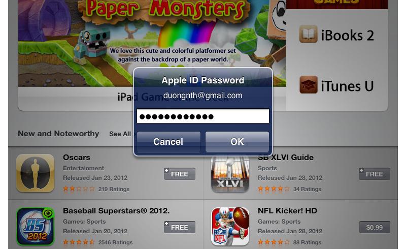 Giao diện nhập tài khoản Apple ID